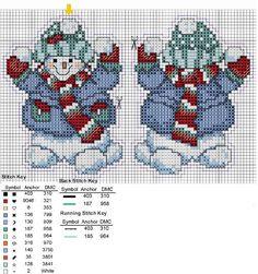 Cross-stitch Snowman Christmas Ornament, part 2...   sneeuwpoppen