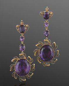Georgian Yellow Gold Amethyst Cannetille Pendant Earrings, English, circa 1820