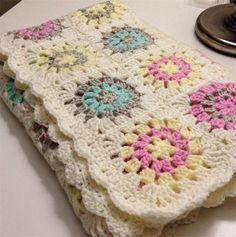 Crochet Baby Blanket Flower Granny Square Custom Order for Pauline