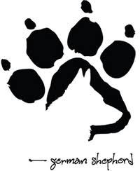 puppy paw with silhouette