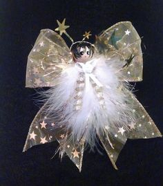 Gold star Angel, Feather Angel, Angel Ornament, Gifts Under 20, Teacher Gift, Angel Gift, Victorian Angel, Party Favor Gift, Keepsake Angel - pinned by pin4etsy.com