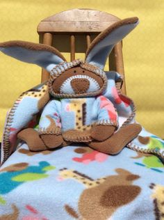 Up Up and Away Baby Blanket and Waldorf Bunny, it's a Lovey – Imagination Adventure with Blue skies and elephants and giraffes flying planes
