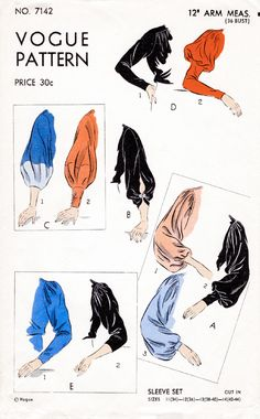 schnittmuster vintage sewing pattern set of sleeves in 10 styles bust 36 / 1930