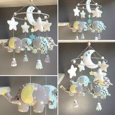 """Sur commande - mobile décoratif """"éléphants dans les nuages"""" en feutrine et tissus"""