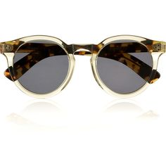 Illesteva Leonard 2 round-frame acetate sunglasses (£220) ❤ liked on Polyvore featuring accessories, eyewear, sunglasses, glasses, occhiali, tortoise glasses, round sunglasses, tortoiseshell sunglasses, clear lens sunglasses and tortoise shell glasses