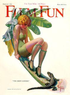 "Film Fun magazine cover - ""The Green Goddess"" Artist: Enoch Bolles, 1924 (Source: Mark Forer)"