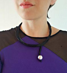 Black minimalist necklace Christmas gift Bib от PevalekArt на Etsy