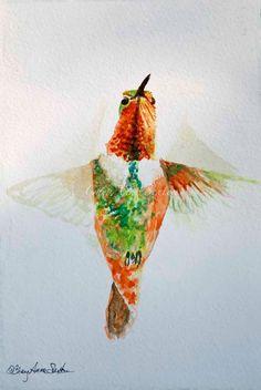 Hummingbird Watercolor Print Rufous male Peridot by CheyAnneSexton