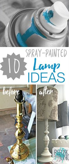 10 Spray-painted Lamp Ideas. Repurpose old ugly lamps with just a can of spray paint. DIY Spray Paint Ideas and Lighting Inspiration by Refunk My Junk