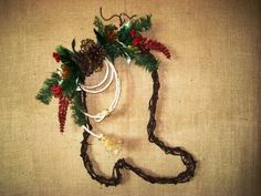 Barbed Wire Boot Wreath