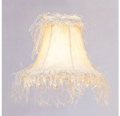 Livex Lighting S106 Chandelier Shade with Off White Silk Bell Clip Shade with Corn Silk Fringe and Beads from Chandelier Shade Series