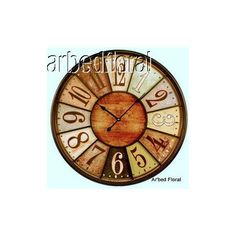 Jumbo Tuscan Wooden Number Wall Clock by VIP International Wooden Numbers, Kitchen Clocks, Tuscan House, Tuscan Decorating, Golden Oak, Tuscan Style, Metal Wall Art, Wall Tiles, 9 And 10