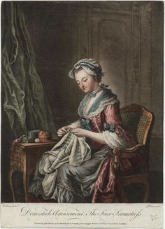 The Fair Seamstress. for John Bowles, London. Note ruffle on apron. 18th Century Clothing, 18th Century Fashion, Corsage, Bodice Pattern, Sewing Art, Sewing Patterns, Portraits, Historical Clothing, Vintage Sewing