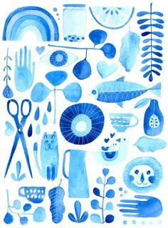 Lisa Congdon Experiment in Blue // 11x14 Art Print