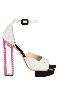 Aperlai   Women's shoes Spring 2014 ~ Lucite heel edged with pink stand out on this white studded black platform.