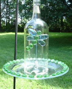 recycle wine bottles diys   Bird feeder from Large Recycled Wine Bottle by ...   whimsical