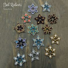 Starshine beaded pattern tutorial by Deb Roberti Beaded Christmas Decorations, Easy Christmas Ornaments, Christmas Jewelry, Christmas Crafts, Beaded Ornament Covers, Beaded Ornaments, Beaded Crafts, Diy Crafts, Beaded Jewelry Patterns