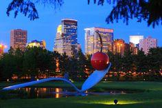 The famous Spoonbridge and Cherry sculpture at the Minneapolis Sculpture Garden, Walker Art Center.