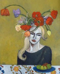 Women in the Flowered Hat - Oil Painting - Terri Jordan