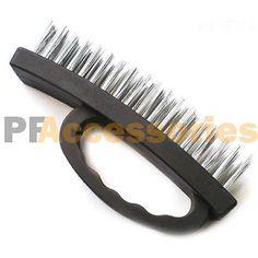 "6.5"" inch Heavy Duty Stainless Steel Wire Brush Plastic Grip (Black)"