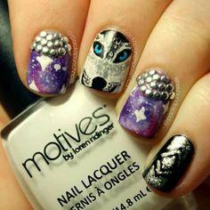 #nails #galaxy #silver #wolf