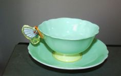 PARAGON Queen Mary England Butterfly handle cup saucer bone china green yellow