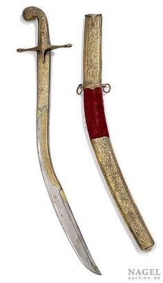 Kilij with scabbard, blade with finely gilt inscriptions, Ottoman Empire, 19th ct. Guard slightly loose, the gilt ornaments on back of the blade are worn, otherwise with some signs of aging overall in good condition, scabbard damaged. From an old South German private collection.