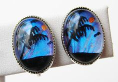 Vintage 40s Butterfly Wing Palm Tree Silhouette by SoCalJewelBox
