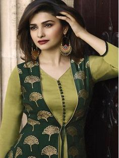 This Banarasi Jacquard And Satin Green Colour Kurti Is The Fun Attire Of The Moment. Get It On and Style It With Handbag and Earrings For The Perfect Day Look. Its Party Wear and Cute - The Essentials. Salwar Designs, Simple Kurti Designs, Kurta Designs Women, Kurti Designs Party Wear, Latest Kurti Designs, Sleeves Designs For Dresses, Dress Neck Designs, Chudithar Neck Designs, Neckline Designs