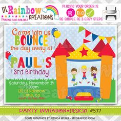 577 DIY Bounce House Fun 7 Party Invitation Or by LilRbwKreations