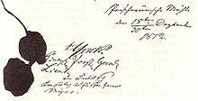 Befreiungskriege – Die Unterschriften von Yorck (Königlich Preuß. General Lieutn.) und Diebitsch (Kaiserlich Russischer General Major) unter der Konvention von Tauroggen vom 30. Dezember 1812