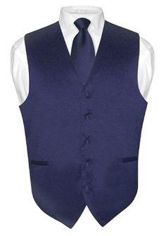 Men's NAVY BLUE Tie Dress Vest and NeckTie Set for Suit or Tuxedo