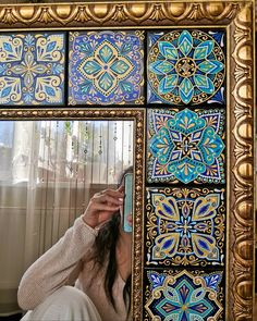 Diy Home Decor Easy, Diy Home Crafts, Tile Crafts, Home Decor Furniture, Painted Furniture, Islamic Art Pattern, Glass Photography, Diy Mirror, Mirror Mosaic