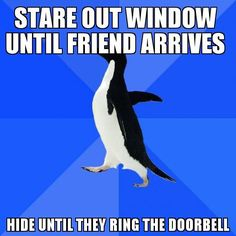 Stare out window until friend arrives...hide until they ring the doorbell.