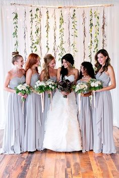 We Can't Get Over How Gorgeous This Bride's Dress Is #refinery29  http://www.refinery29.com/lover-ly/79#slide-11  Bridesmaids' dresses: Loving Dresses.