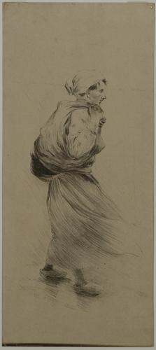 Vrouw in de wind - Herman Heijenbrock (1890)