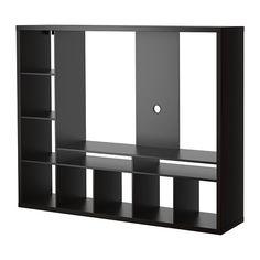 IKEA - LAPPLAND, TV-møbel, brunsvart, , Hylleplatene kan plasseres til venstre eller høyre; velg den plasseringen som passer deg best.Forsterket ryggpanel for flatskjerm.2 åpne rom til DVD-spiller og lignende.Åpningen bak gjør at alle ledninger kan samles og ordnes.
