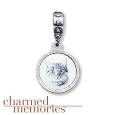 Charmed Memories Tabby Cat Charm Sterling Silver