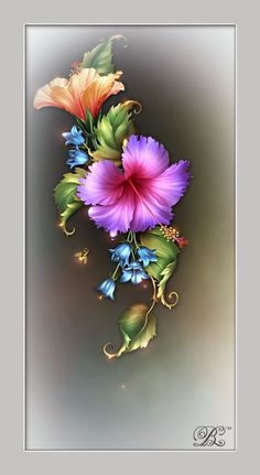 this is a beautiful Image that I'd like to display on my wall Tole Painting, Fabric Painting, Painting & Drawing, Folk Art Flowers, Flower Art, Flower Wallpaper, Wallpaper Backgrounds, Floral Vintage, Fractal Art