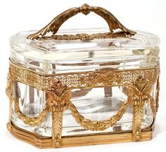 FRENCH GILT BRONZE, METAL & CRYSTAL BOX, LATE 19TH CENTURY