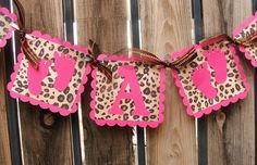 IT'S A GIRL - Pink & #Leopard Banner with Baby Feet. via Etsy | #pinparty