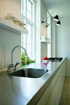 Clean stainless steel counter