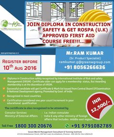 GWG's exclusive offer for  diploma course in construction safety at affordable cost.  http://greenwgroup.co.in/training-courses/diploma-in-construction-safety/