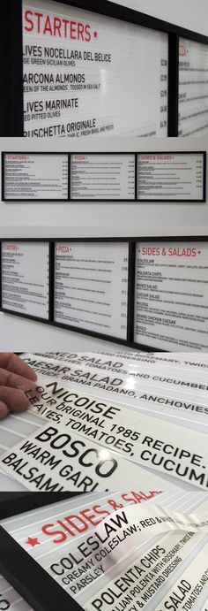 Classic Diner Menu Board with Changeable Text, uses a special thick peel-able clear vinyl (a similar material to tax disc holders on cars), this vinyl can be repositioned several times, so perfect if you have little experience in applying vinyl.  Designed by London Sign Makers Goodwin & Goodwin.