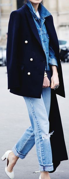 Navy double Breasted Blazer On Denim by Collage Vintage - Love it!