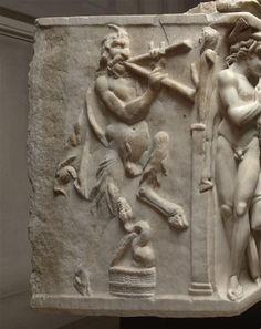 Satyr, Roman relief (marble), 3rd century AD, (Musée du Louvre, Paris).