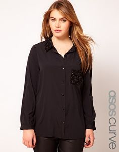 ASOS CURVE Exclusive Shirt With Sequin Collar