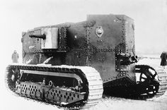The Holt gas-electric tank, the first American tank, in 1917. The Holt did not get beyond the prototype stage, proving too heavy and inefficient in design.