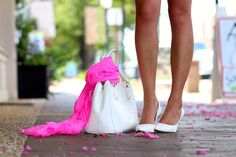 Pretty blogger bag and shoe pic - Bright pink gauze scarf with white accessories and flowers on the ground