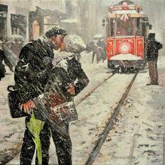 """Купить """"Под снегом"""" - чёрно-белый, Снег, поцелуй, трамвай, город, городской пейзаж, зима"""